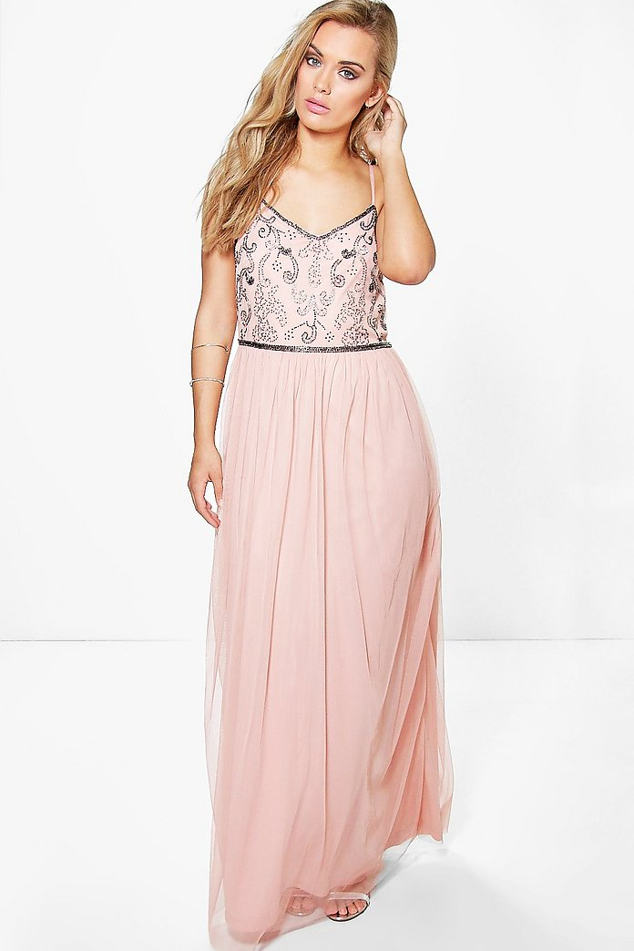 Plus Rose Sequin Embroidered Maxi Dress