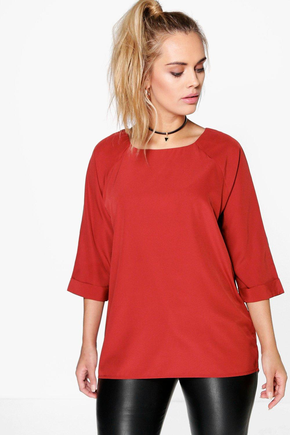 Plus Mandy Woven Long Sleeve Shell Top
