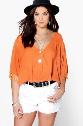 Plus Brooke Wrap Front Tassel Top