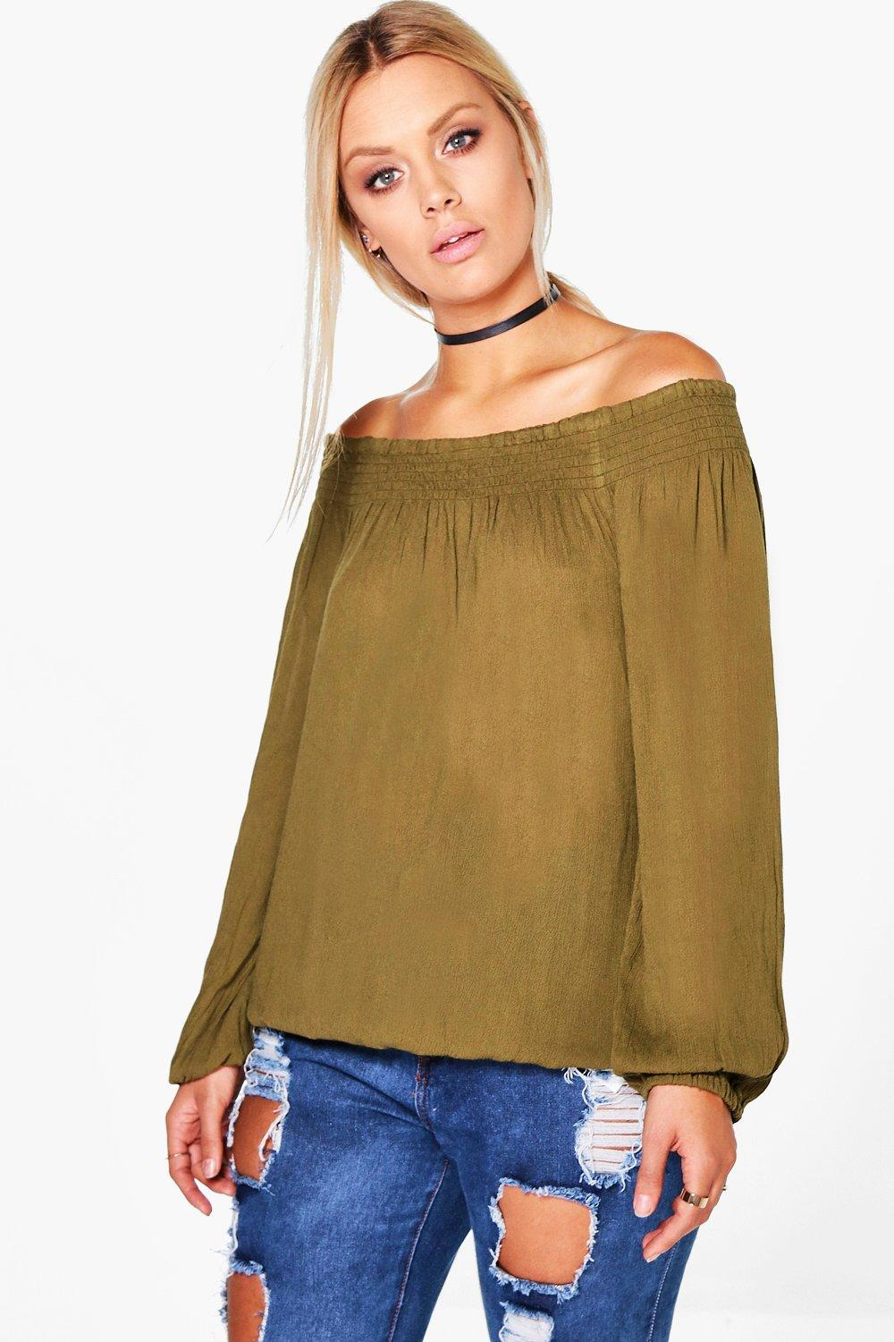 Plus Emma Woven Crinkle Off The Shoulder Top