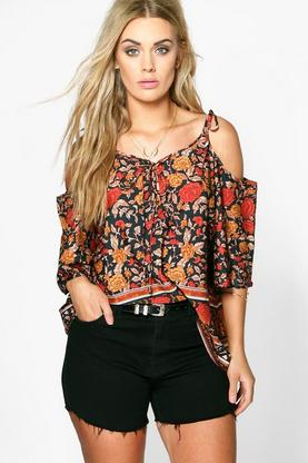 Plus Emma Printed Cold Shoulder Woven Top