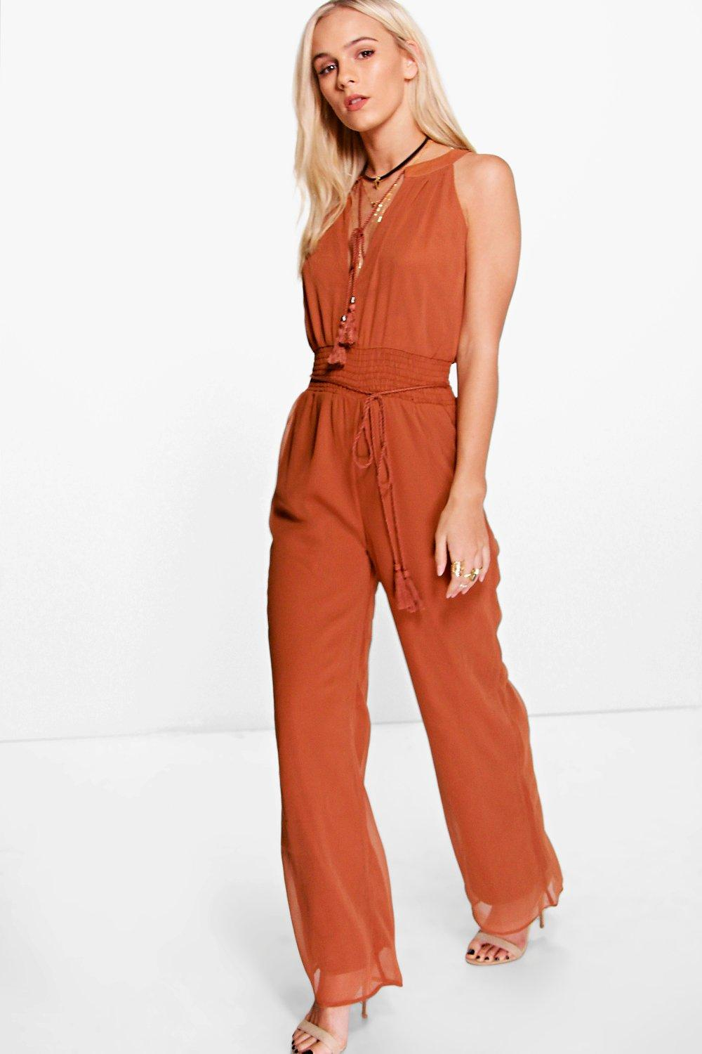 Petite Amy Tassel Detail Wide Leg Jumpsuit