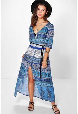 Petite Katie Paisley Button Down Maxi Dress