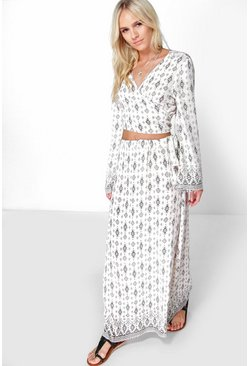Petite Millie Printed Crop Maxi Co Ord Set
