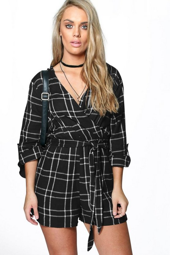 Plus Katie Checked Wrap Playsuit