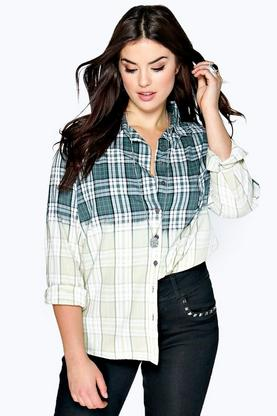 Plus Daisy Tie Dye Checked Shirt