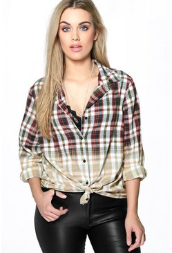 Plus Sophie Tie Dye Checked Shirt