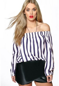 Plus Holly Off The Shoulder Stripe Top