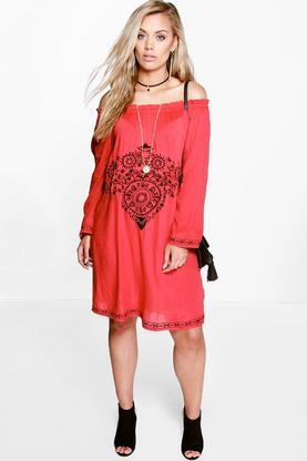 Plus Imogen Embroidered Off The Shoulder Dress