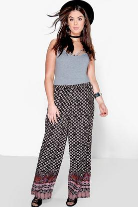 Plus Ellie Boarder Print Wide Leg Trouser