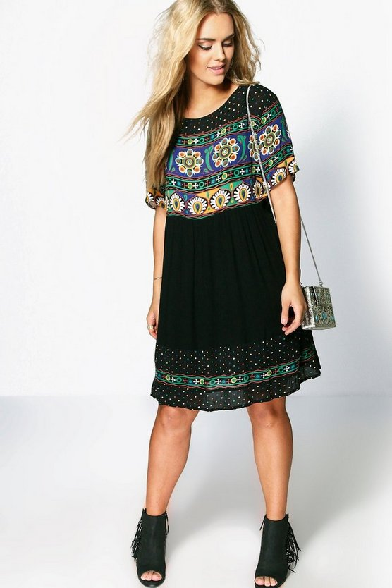 Plus Retro Print Smock Dress