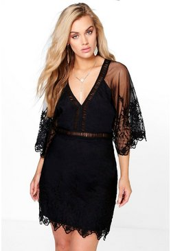 Plus Skye Boutique Crochet Wide Sleeve Dress