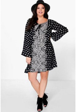 Plus Amelia Placement Print Tassel Shift Dress