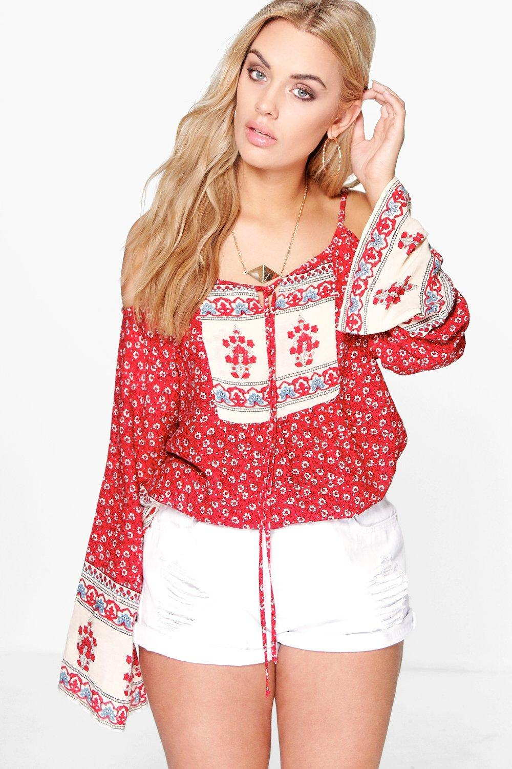 Plus Faith Paisley Open Shoulder Top