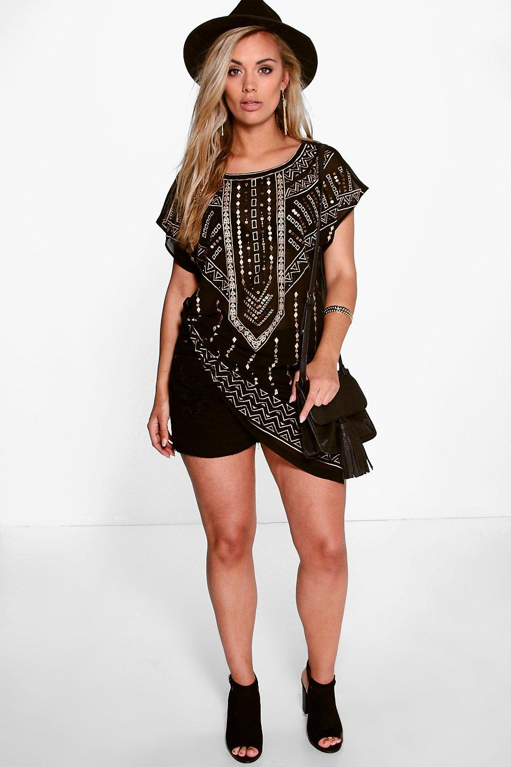 Plus Eliza Embroidered Side Split Tunic