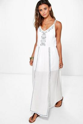 Petite Emma Embroidered Front Split Maxi Dress