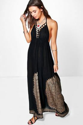Petite Maria Cage Detail Foil Printed Maxi Dress
