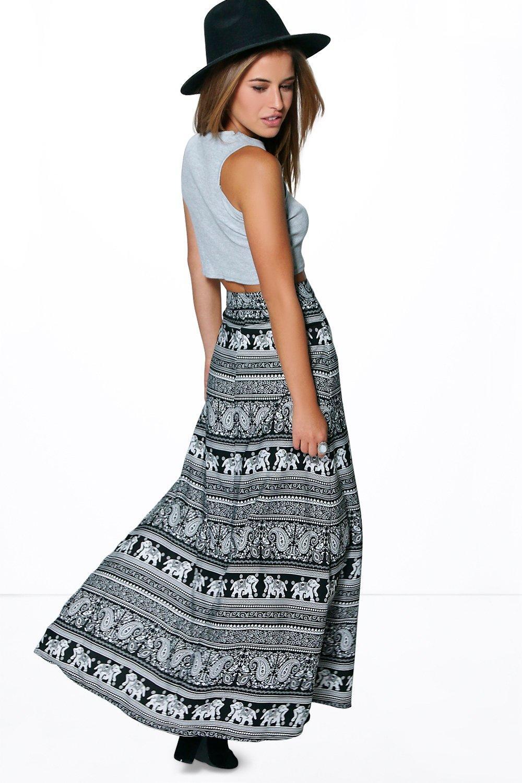 Petite Hannah Elephant Print Maxi Skirt | Boohoo