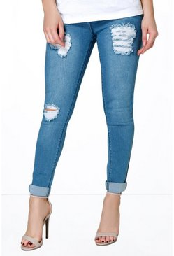 Petite Eve Mid Rise Distressed Thigh Skinny Jeans
