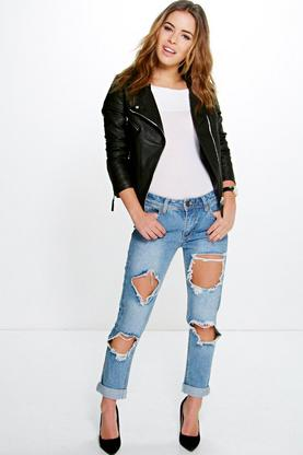 Petite Alicia Cloudy Wash Ripped Boyfriend Jean