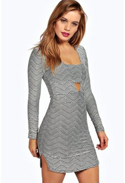 Petite Chelsea Jacquard Plunge Bodycon Dress