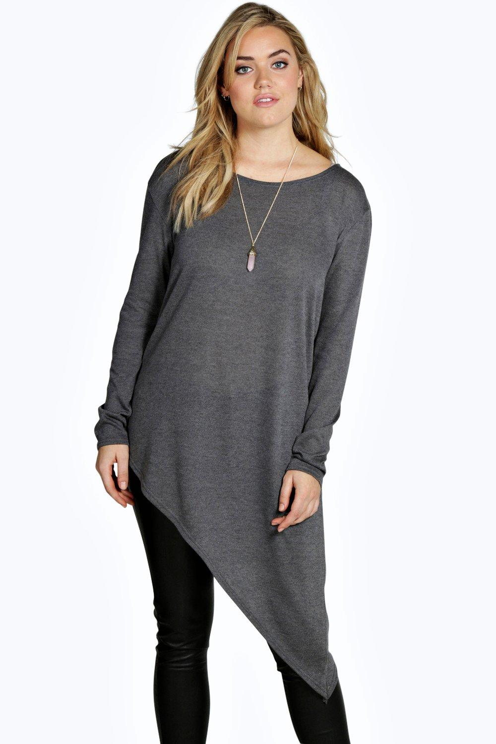 Plus Jenny Asymmetric Hem Jumper