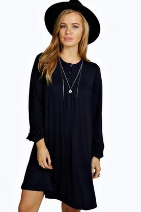 Petite Amy Long Sleeve Button Detail Swing Dress