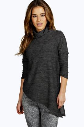 Petite Sarah Turtle Neck Asymmetric Jumper