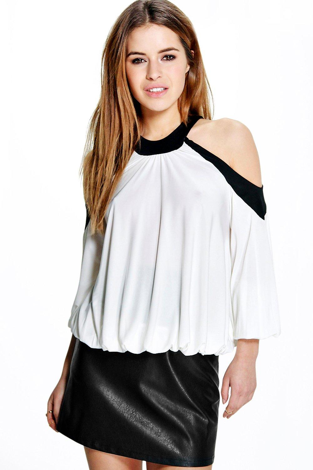 Petite Ella Cold Shoulder Colour Block Top