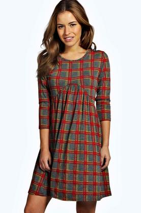 Petite Lydia 3/4 Sleeve Check Print Babydoll Dress