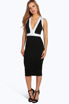 Petite Megan Plunge Neck Colour Block Midi Dress
