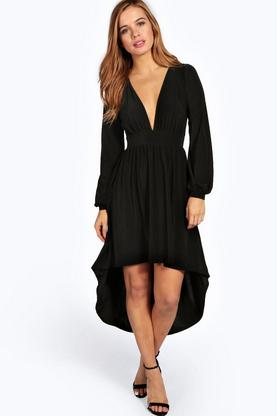 Petite Megan Dip Back Tea Dress