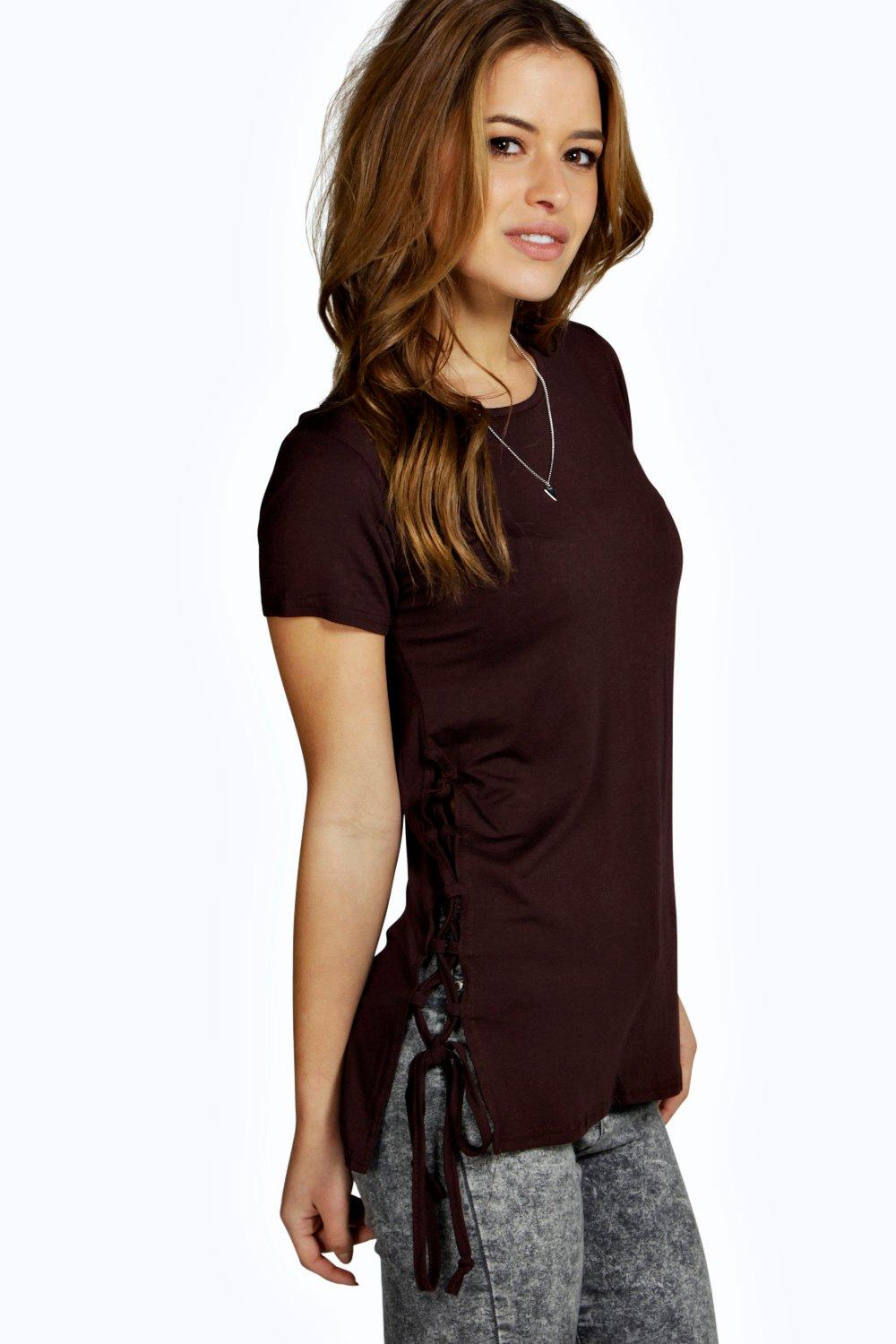 Petite Paige Lace Up Side Oversized Tee
