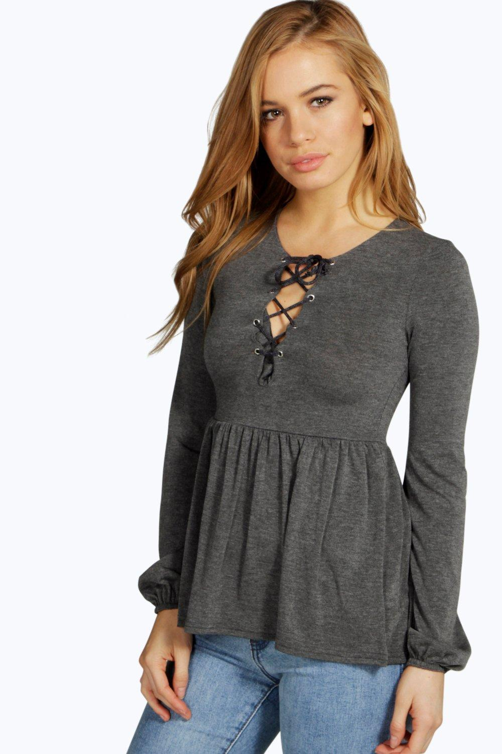 Petite Faith Lace Up Detail Smock Top