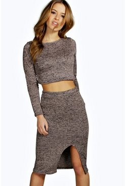 Petite Saskia Knitted Midi Skirt and Jumper Co-ord