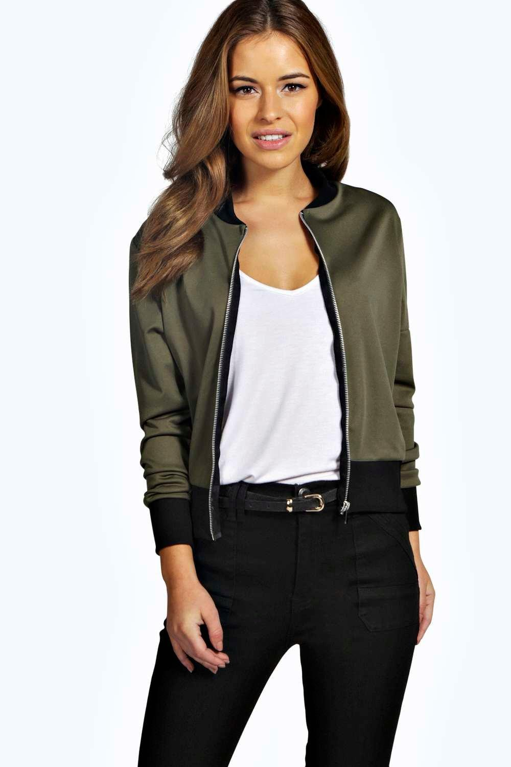 Alice Scuba Zip Detail Bomber Jacket khaki