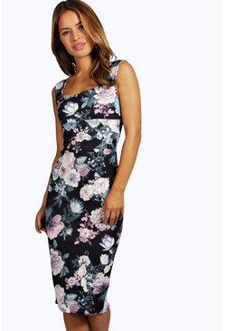 Petite Elicia Printed Sweetheart Midi Dress