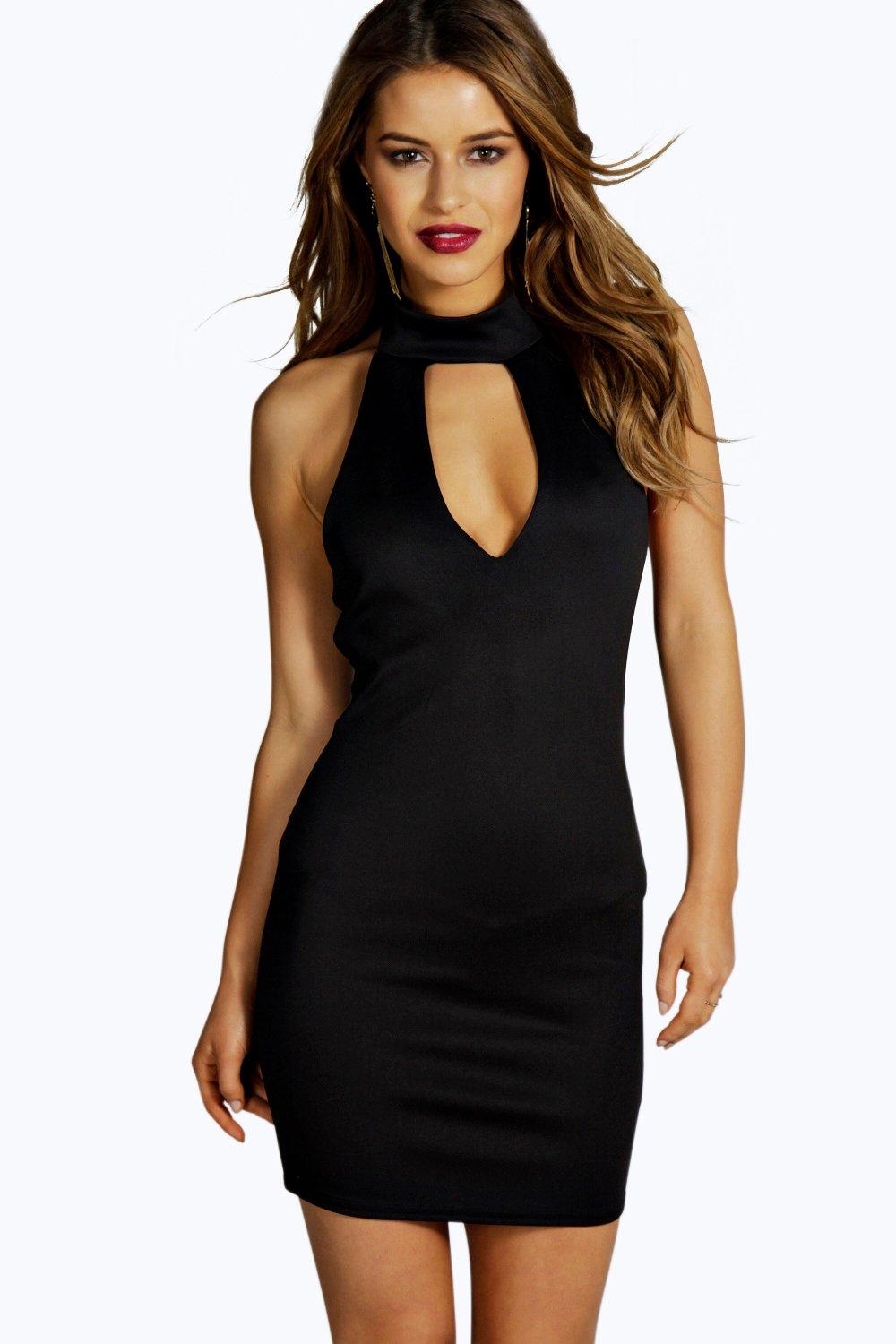 Petite Alicia Tie Neck Plunge Bodycon Dress