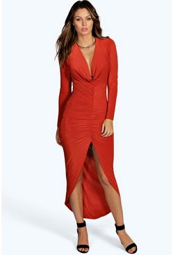Petite Amy Ruched Front Slinky Maxi