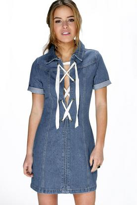 Petite Alice Lace Up Detail Denim Shift Dress