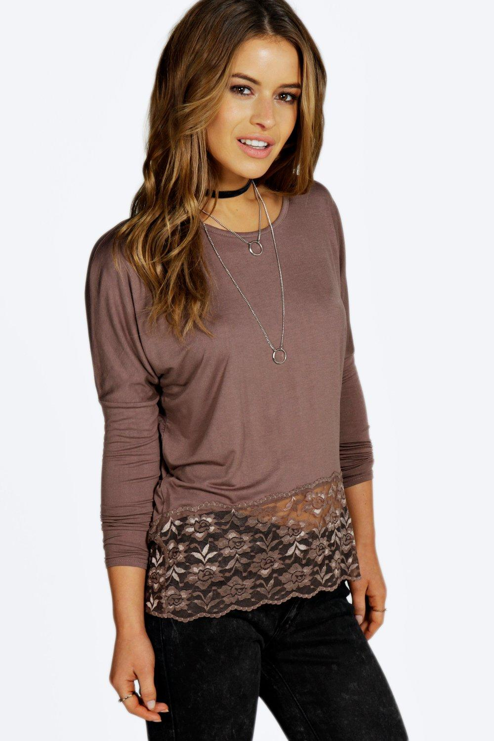 Petite Chelsea Longline Lace Hem Long Sleeve Top