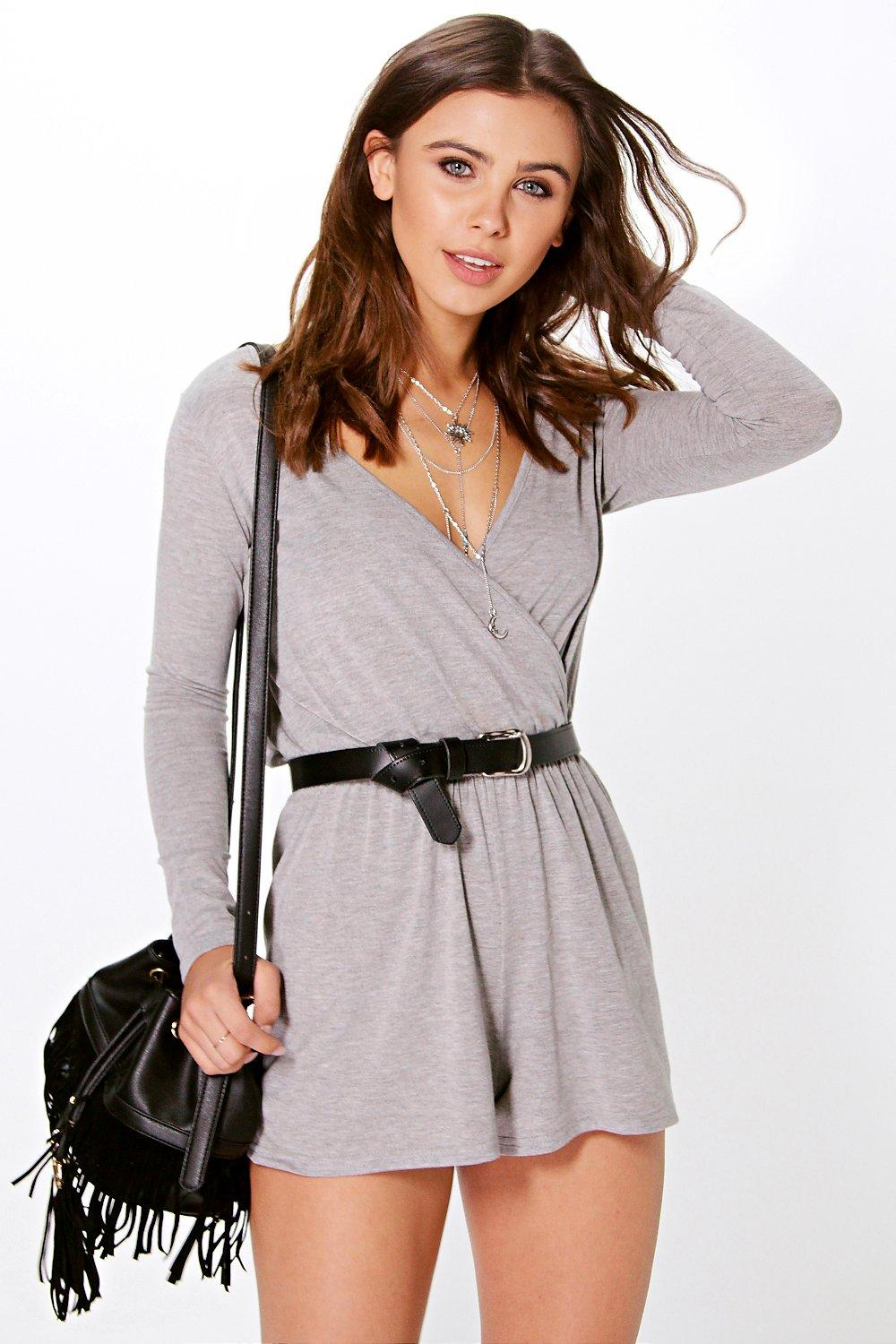 Petite Olivia Wrap Over Front Jersey Playsuit