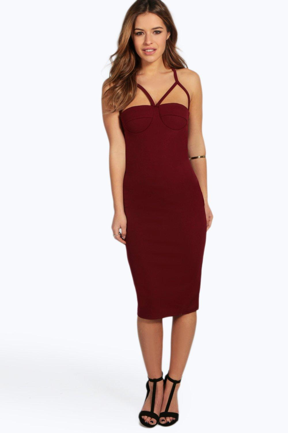 Petite Liana Multi Strap Cup Midi Bodycon Dress