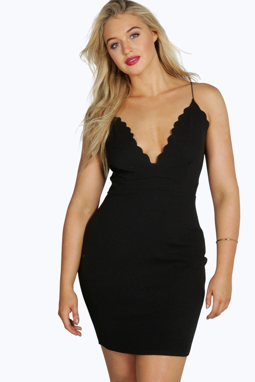 Aine Scallop Edge Midi Dress - black