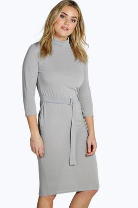 Plus Amanda High Neck D Ring Waist Midi Dress