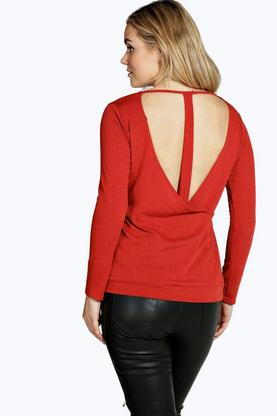Plus Kellie Knitted Wrap Back Long Sleeve Top