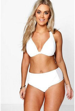Plus Hannah Moulded High Waist Mesh Panel Bikini