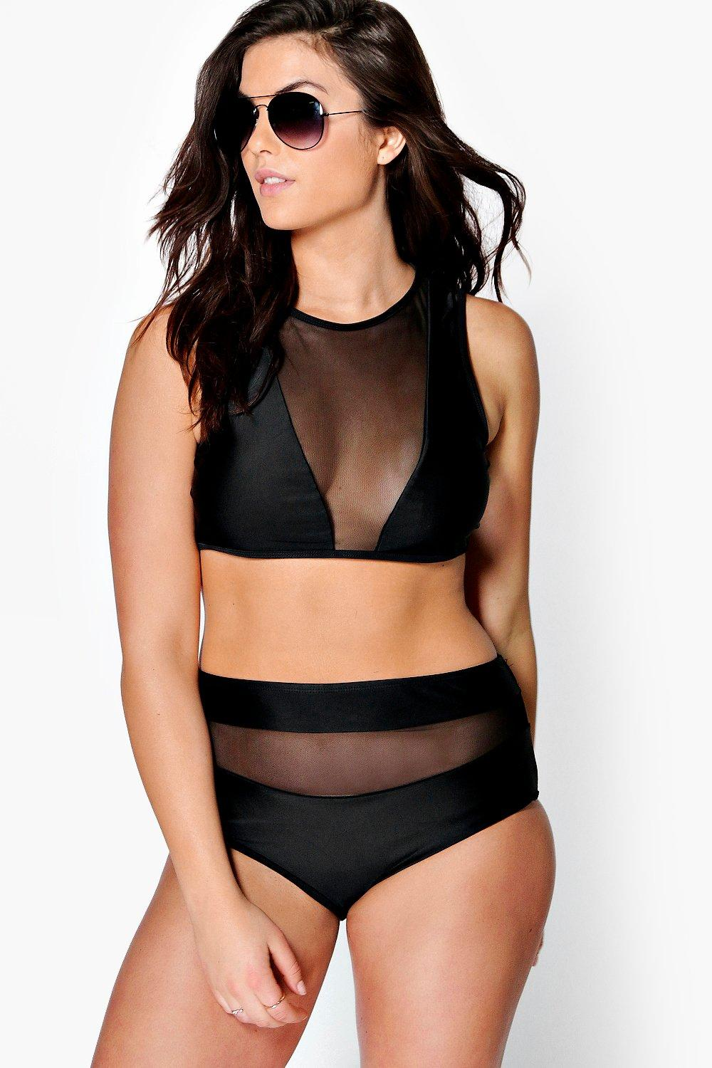 boohoo Plus Laura Mesh Crop High Waist Bikini - black
