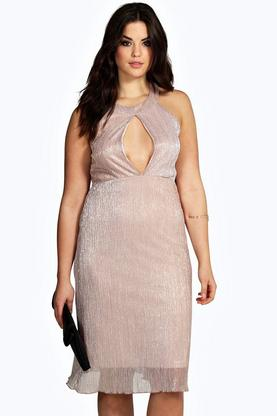 Plus Nina Metallic Pleated Midi Dress