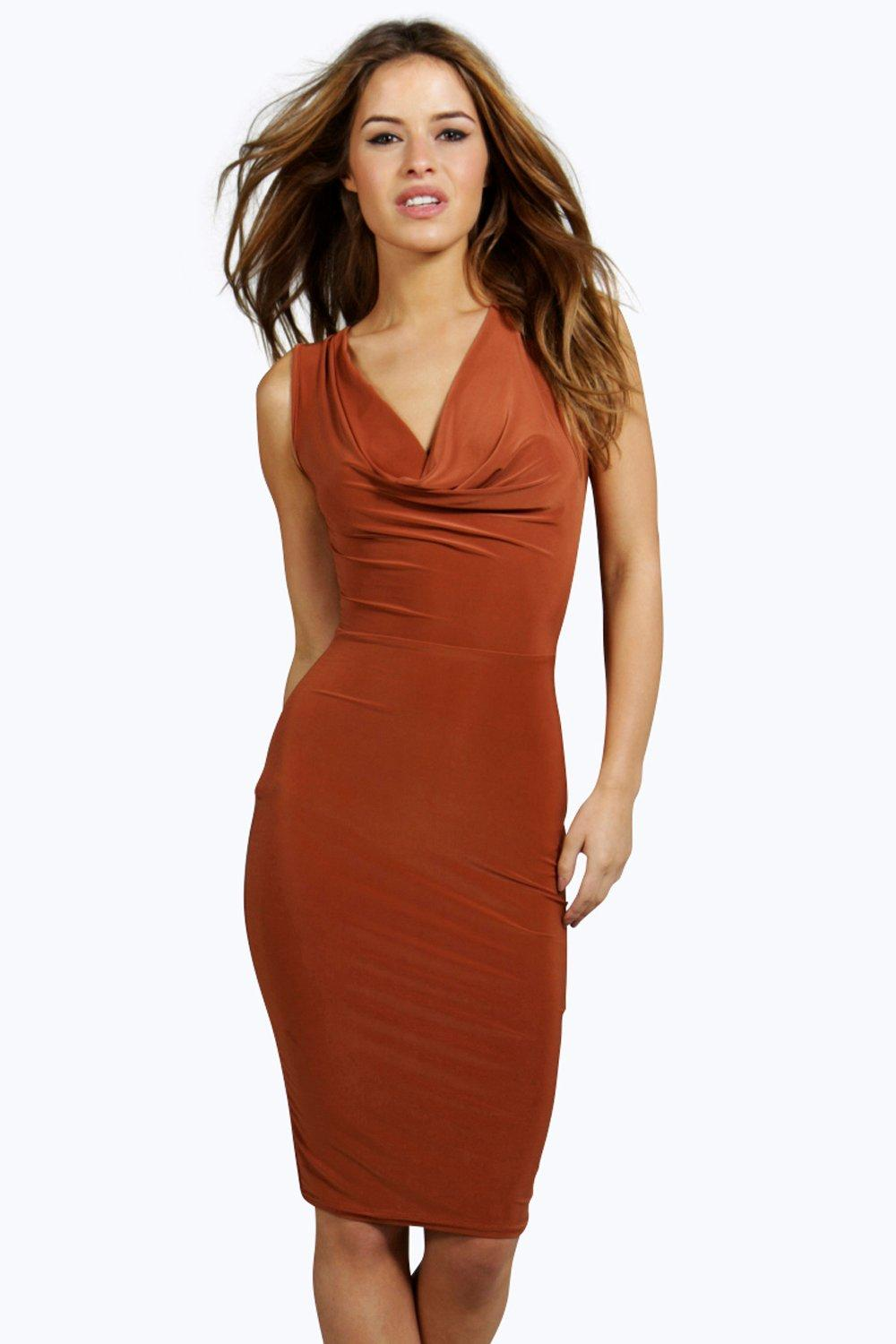 Petite Lola Cowl Neck Slinky Midi Dress